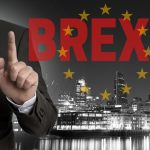 Brexit on United Kingdom membership of the European Union London skyline concept with businessman