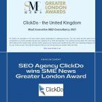 ClickDo wins SME news london award for most innovative seo consultancy
